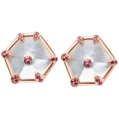 Fei Liu Rose Gold Hexagon Shape Stud Earrings with Pink Sapphires
