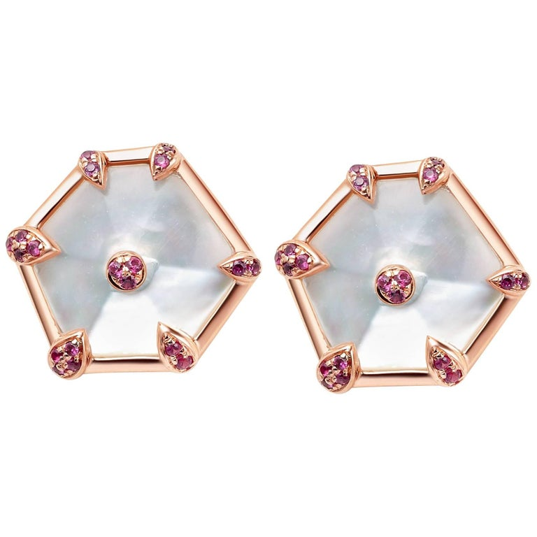 Fei Liu Rose Gold Hexagon Shape Stud Earrings with Pink Sapphires For Sale