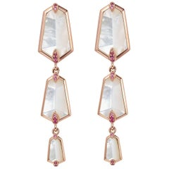 Fei Liu Kite Mother of Pearl and Pink Sapphire  18 Karat Rose Gold Drop Earring