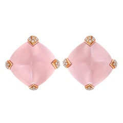 Fei Liu Rose Quartz Diamond 18 Karat Rose Gold Asymmetric Stud Earrings
