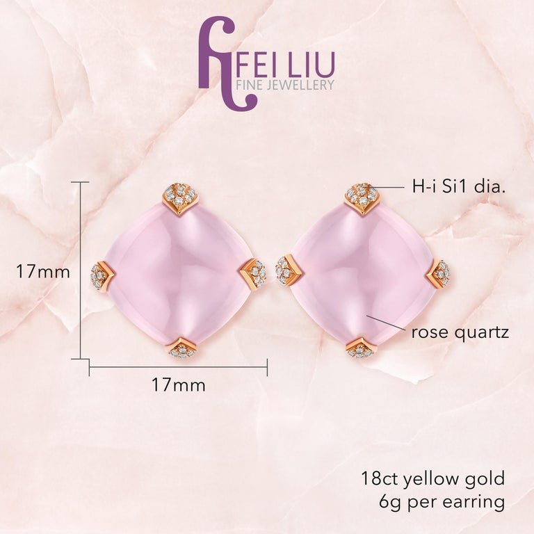 Contemporary Fei Liu Rose Quartz Diamond Yellow Gold Stud Earrings For Sale