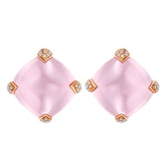 Fei Liu Rose Quartz Diamond Rose Gold Stud Earrings