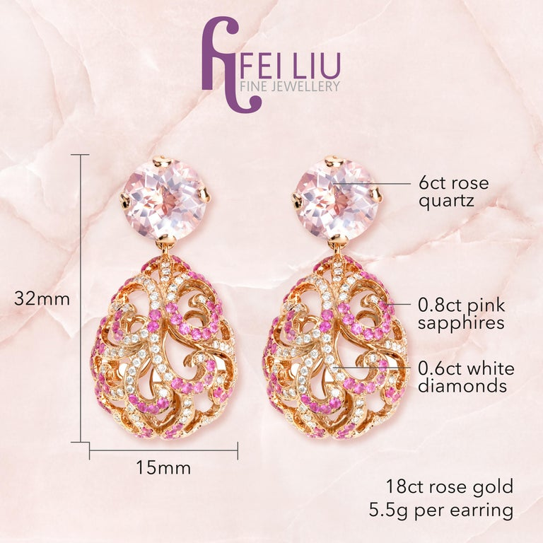Description: Whispering rose quartz drop earrings with 6ct rose quartz, 0.6ct white diamonds and 0.8ct pink sapphires, set in 18ct rose gold.  Inspiration: Emulating femininity and glamour, the Whispering collection is full of colour and form.