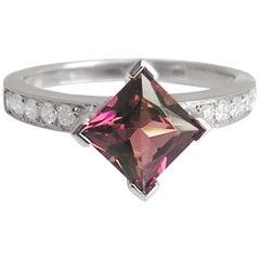 Fei Liu Rubellite Diamond White Gold Fashion Engagement Ring