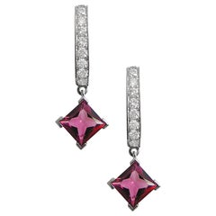 Fei Liu Rubellite Diamond White Gold Hoop Earrings
