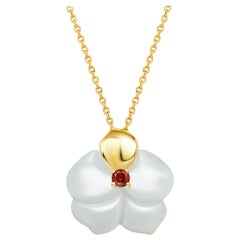 Fei Liu Russian Nephrite Orchid Garnet 14 Carat Yellow Gold Pendant Necklace