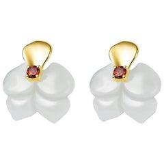 Fei Liu Russian Nephrite Orchid Garnet 14 Carat Yellow Gold Stud Earrings