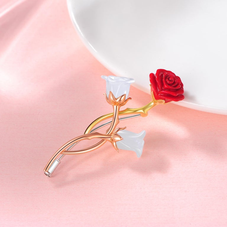 Contemporary Fei Liu Russian Nephrite Red Enamel 18 Karat Rose Yellow White Gold Rose Brooch For Sale