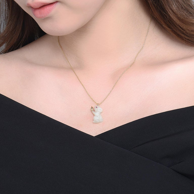Description: Rat pendant with Russian nephrite and 0.017ct ruby eye, set with 18ct yellow gold detail. Chain length is 16 inches + 2 inch extension 18ct yellow gold plate on sterling silver chain.   *Note: the Rat's bail and gold detail is genuine