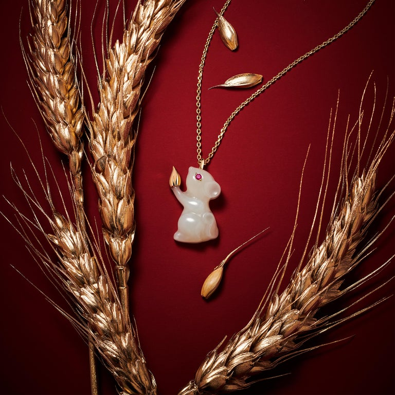 Contemporary Fei Liu Russian Nephrite Ruby Yellow Gold Pendant Necklace For Sale