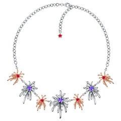 Fei Liu Swarovski Pentagon Star Zirconia Sterling Silver Choker Necklace