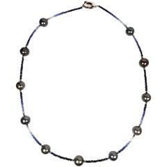 Fei liu Tahitian Pearl Blue Sapphire Silver Beaded Necklace