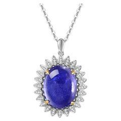 Fei Liu Tanzanite Diamond 18 Karat White Gold Pendant Necklace