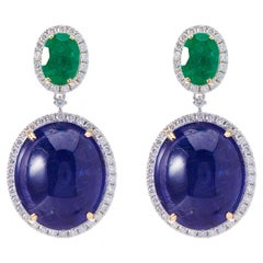 Fei Liu Tanzanite Emerald Diamond 18 Karat White Gold Drop Earrings
