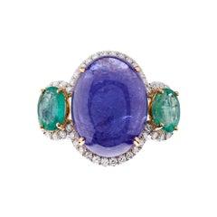 Fei Liu Tanzanite Emerald Diamond 18 Karat White Gold Trilogy Ring