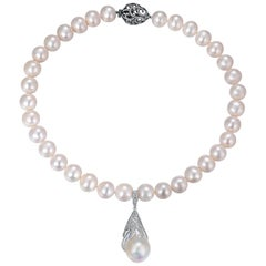 Fei Liu Multiwear Pearl Diamond 18 Carat White Gold Pendant Necklace