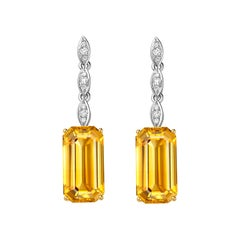 Fei Liu Victorian Citrines Diamonds White and Yellow Gold Drop Earrings