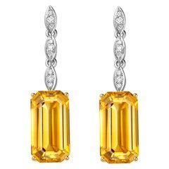 Fei Liu Citrine Diamond White and Yellow Gold Drop Earrings