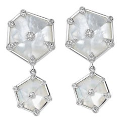 Fei Liu Mother of Pearl Diamond 18 Karat White Gold Drop Earrings