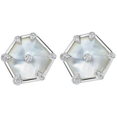 Fei Liu Mother of Pearl Diamond White Gold Stud Earrings
