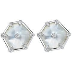 Fei Liu 18 Karat White Gold Hexagon Earrings with Diamonds and  Mother of Pearl