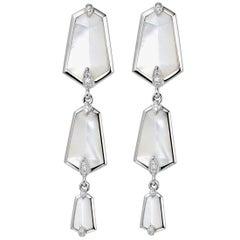 Fei Liu 18 karat White Gold Kite Mother of Pearl and Diamonds Drop Earrings