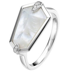 Fei Liu Mother of Pearl Diamond 18 Karat White Gold Fashion Kite Ring