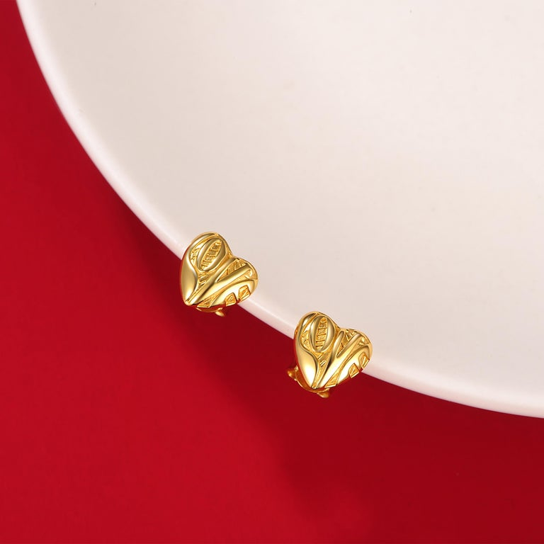 Contemporary Fei Liu Yellow Gold Plated Sterling Silver 'Love' Inscribed Heart Stud Earrings For Sale