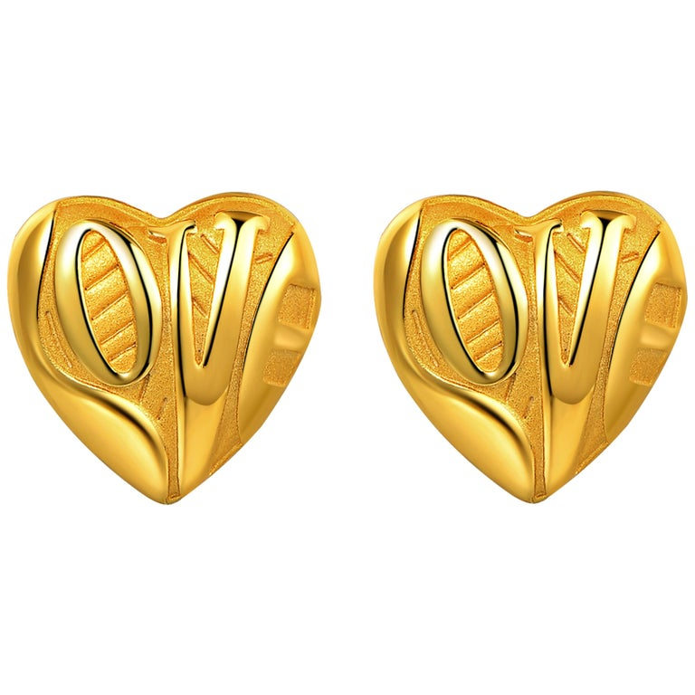 Fei Liu Yellow Gold Plated Sterling Silver 'Love' Inscribed Heart Stud Earrings For Sale