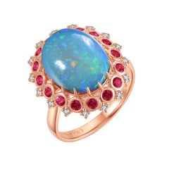 Fei Liu Boulder Opal Ruby Diamond 18 Karat Rose Gold Cluster Ring