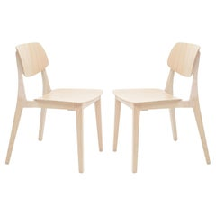 Felber C14 Beech Wood Chairs by Dietiker, Exchangeable Back and Seat, Set of 2