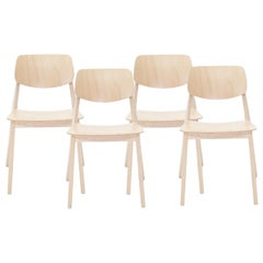 Felber C14 Wood Chairs by Dietiker, Exchangeable Back and Seat, Set of 4