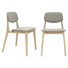 Felber C14 Wood Chairs by Dietiker, Upholstered Beige, Set of 2
