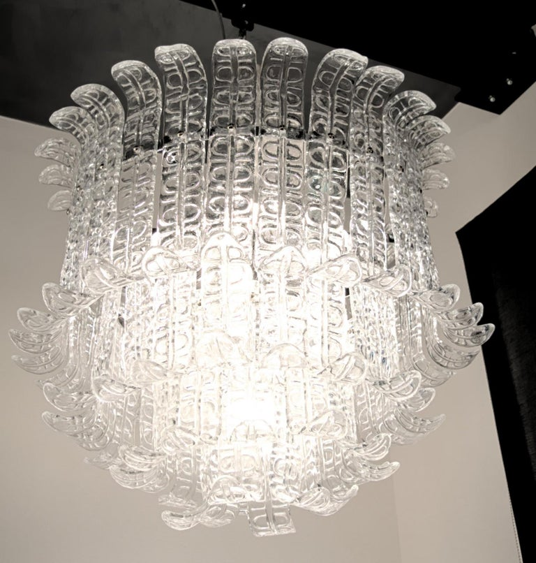 Felci Fern Clear Glass Barovier and Toso Murano Chandelier, 1970s For Sale 4