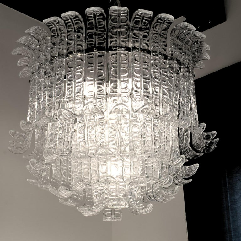 Felci Fern Clear Glass Barovier and Toso Murano Chandelier, 1970s For Sale 6
