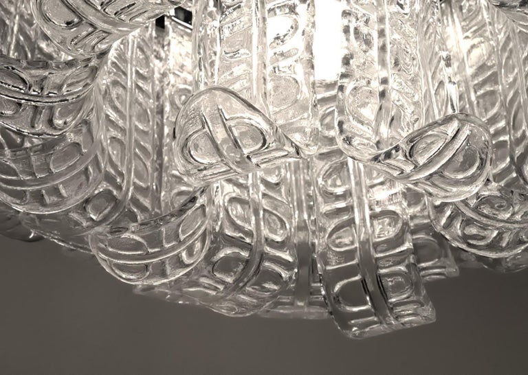 Felci Fern Clear Glass Barovier and Toso Murano Chandelier, 1970s For Sale 7