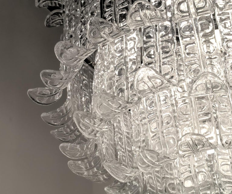 Felci Fern Clear Glass Barovier and Toso Murano Chandelier, 1970s For Sale 8