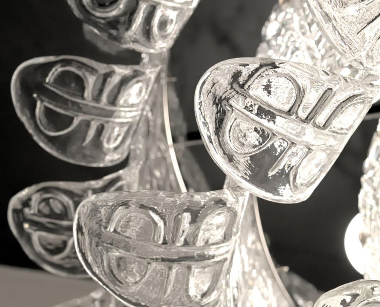 Felci Fern Clear Glass Barovier and Toso Murano Chandelier, 1970s For Sale 9