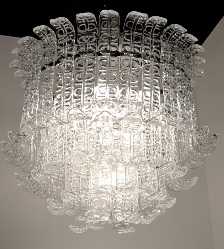 Felci Fern Clear Glass Barovier and Toso Murano Chandelier, 1970s For Sale 10