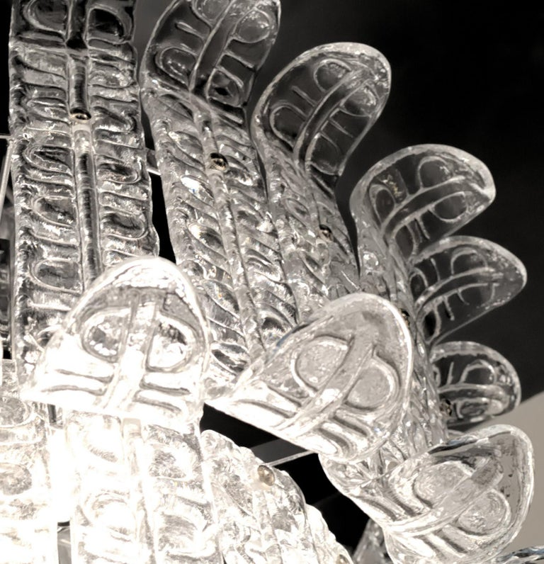 20th Century Felci Fern Clear Glass Barovier and Toso Murano Chandelier, 1970s For Sale