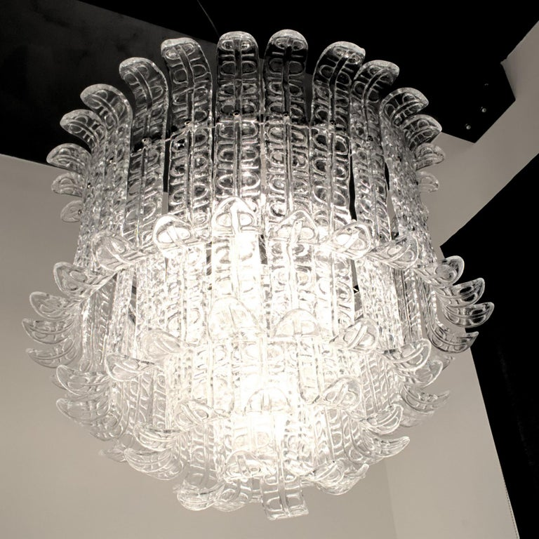 Felci Fern Clear Glass Barovier and Toso Murano Chandelier, 1970s For Sale 1