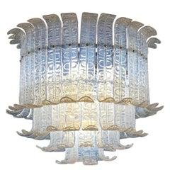 Felci Fern Opaline Glass Barovier & Toso Murano Glass Chandelier, 1970s
