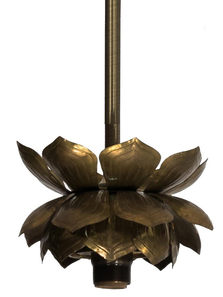 Feldman Brass Lotus Flower Three-Light Fixture In Good Condition For Sale In Stamford, CT