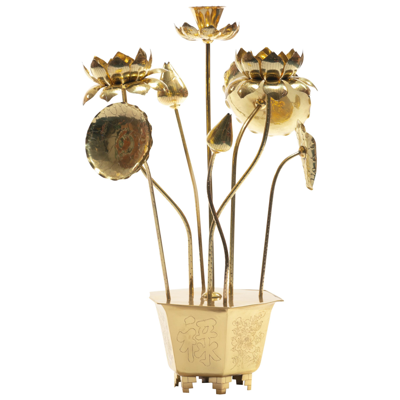 Feldman Chinoiserie Adjustable Brass Lotus Bouquet Sculpture, circa 1970