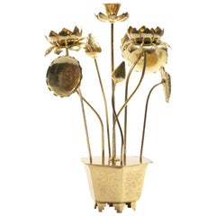 Feldman Chinoiserie Adjustable Brass Lotus Bouquet Sculpture, circa 1970