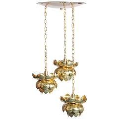 Feldman Triple Lotus Light Fixture Chandelier, circa 1960