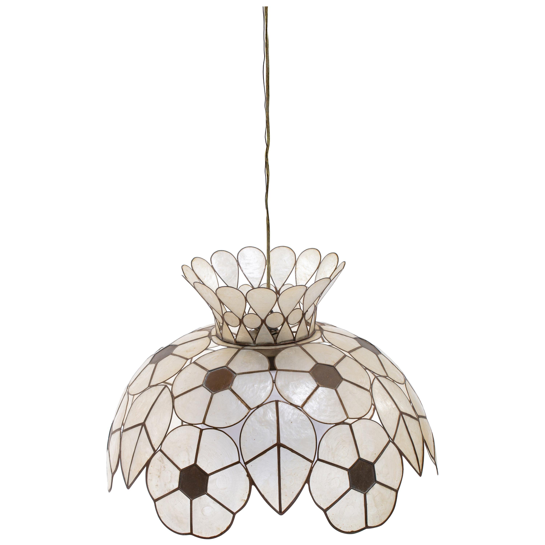 Feldman White Capiz Shell and Brass Floral Themed Pendant Light 'Pair Available'