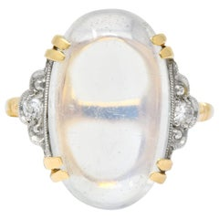 Felger Inc. 1940s Retro Moonstone Diamond Platinum-Topped 14 Karat Gold Ring