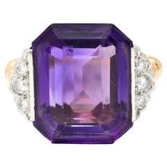 Felger Inc. Amethyst Diamond Platinum-Topped 14 Karat Gold Cocktail Ring