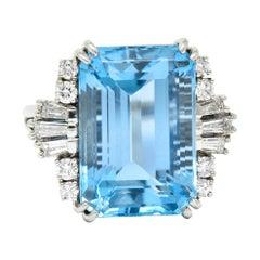 Felger Inc. Mid-Century 17.50 Carats Aquamarine Diamond Platinum Statement Ring